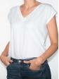 T-shirt réversible blanc profil gauche col V