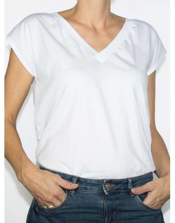 T-shirt réversible blanc profil col V
