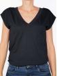 T-shirt réversible noir face col V