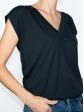 T-shirt réversible noir profil col V