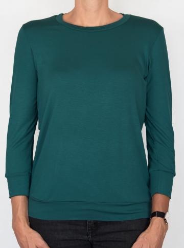 T-shirt d'allaitement émeraude manches trois-quart face