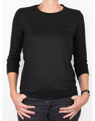T-shirt d'allaitement noir manches trois-quart face