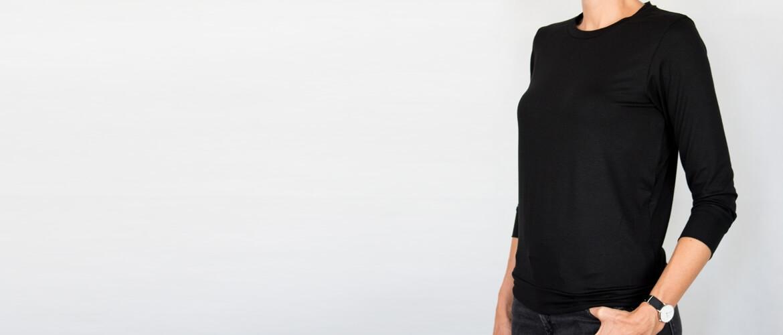 T-shirt d'allaitement noir manches trois-quarts
